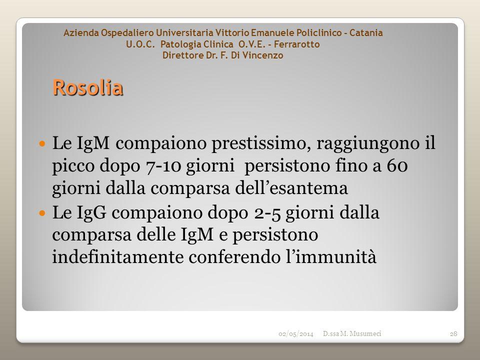 02/05/2014D.ssa M. Musumeci28 Le IgM compaiono prestissimo, raggiungono il picco dopo 7-10 giorni persistono fino a 60 giorni dalla comparsa dellesant