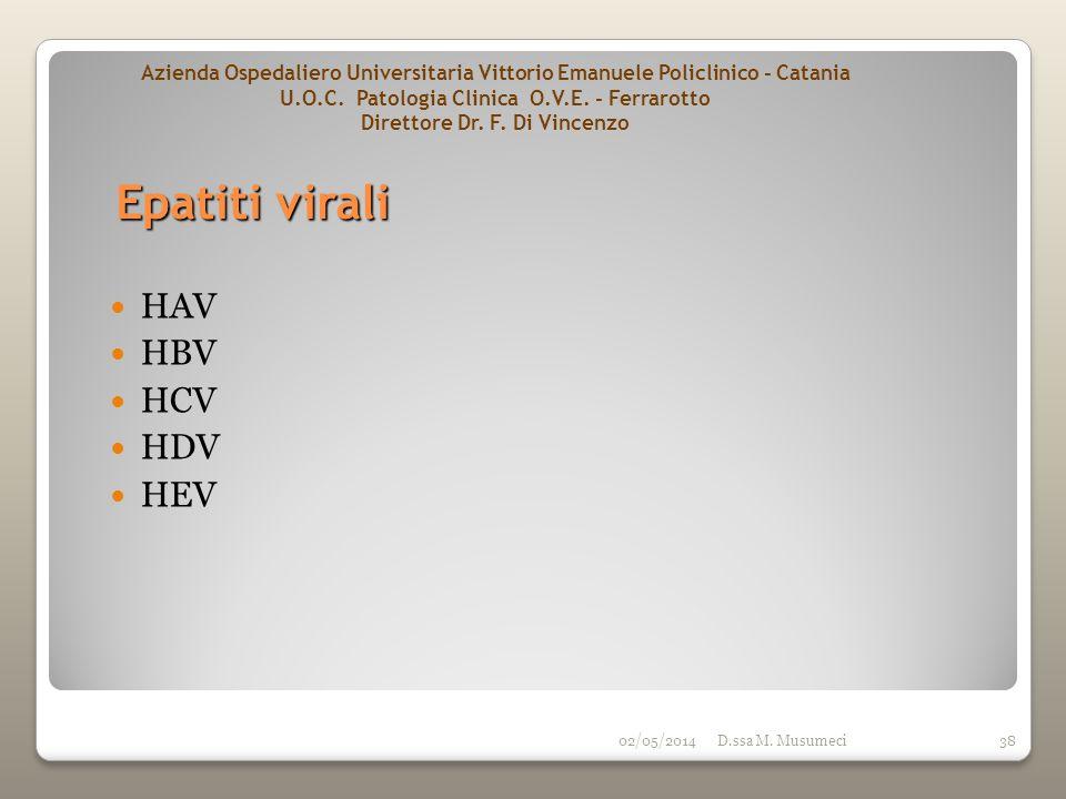 02/05/2014D.ssa M. Musumeci38 HAV HBV HCV HDV HEV Epatiti virali Azienda Ospedaliero Universitaria Vittorio Emanuele Policlinico - Catania U.O.C. Pato