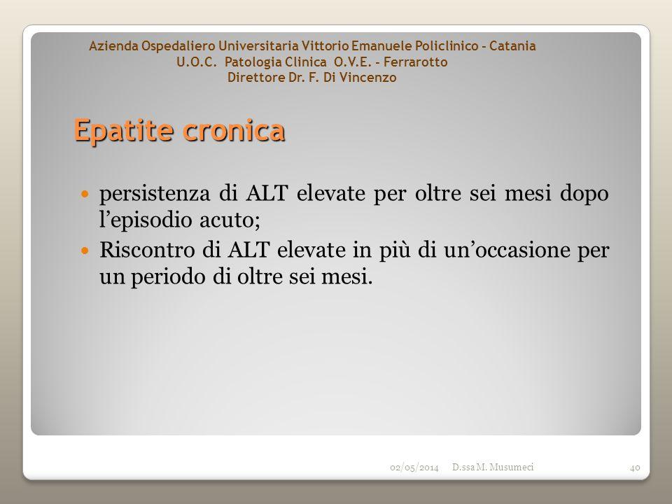 02/05/2014D.ssa M. Musumeci40 persistenza di ALT elevate per oltre sei mesi dopo lepisodio acuto; Riscontro di ALT elevate in più di unoccasione per u