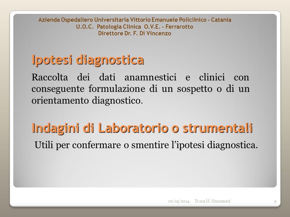 02/05/2014D.ssa M. Musumeci5 Ipotesi diagnostica Utili per confermare o smentire lipotesi diagnostica. Raccolta dei dati anamnestici e clinici con con