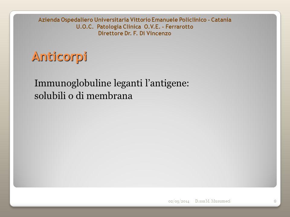 02/05/2014D.ssa M. Musumeci8 Anticorpi Immunoglobuline leganti lantigene: solubili o di membrana Azienda Ospedaliero Universitaria Vittorio Emanuele P