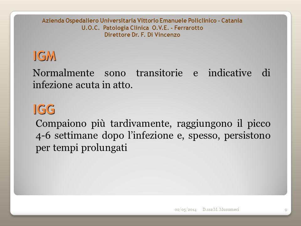 02/05/2014D.ssa M. Musumeci9 IGM Compaiono più tardivamente, raggiungono il picco 4-6 settimane dopo linfezione e, spesso, persistono per tempi prolun