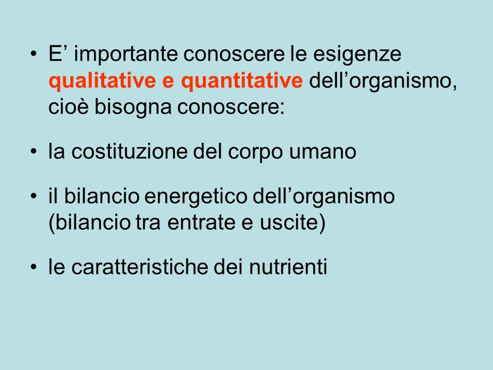 E importante conoscere le esigenze qualitative e quantitative dellorganismo, cioè bisogna conoscere: la costituzione del corpo umano il bilancio energetico dellorganismo (bilancio tra entrate e uscite) le caratteristiche dei nutrienti