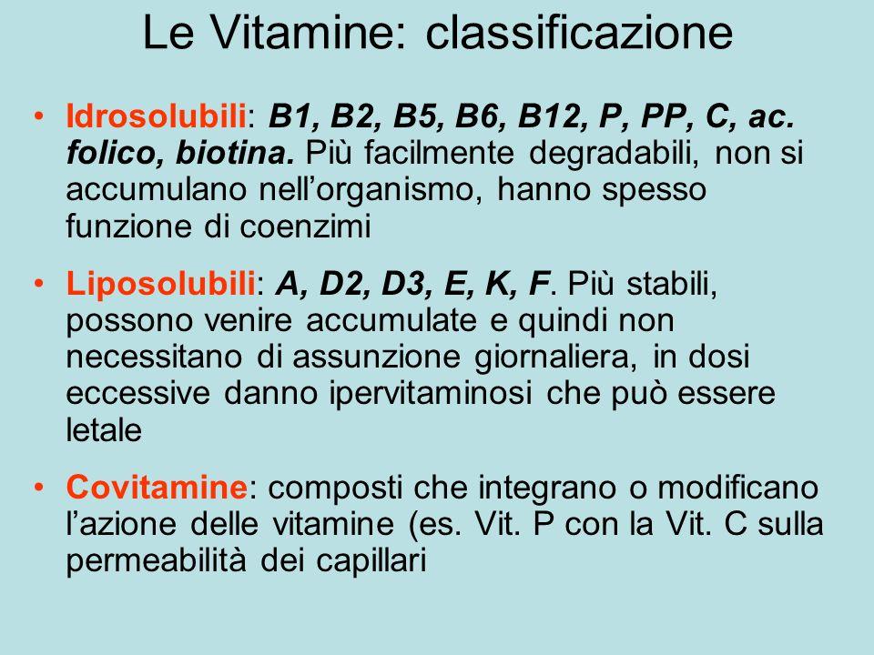 Le Vitamine: classificazione Idrosolubili: B1, B2, B5, B6, B12, P, PP, C, ac.