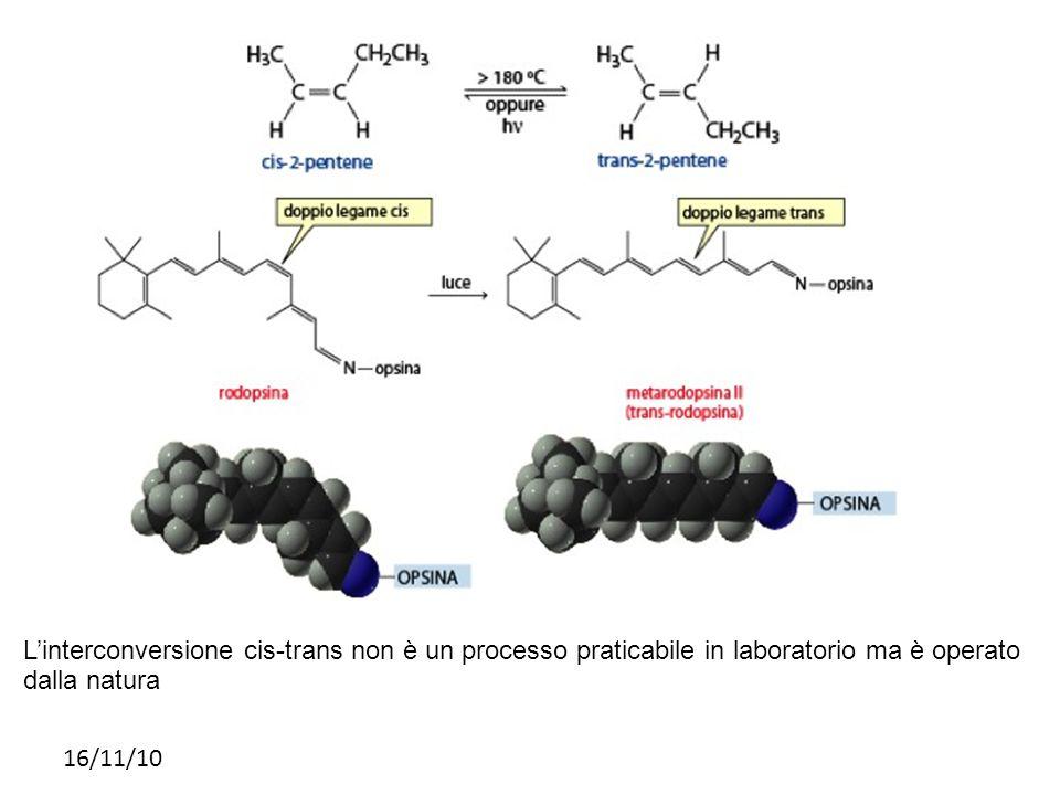 16/11/10 Linterconversione cis-trans non è un processo praticabile in laboratorio ma è operato dalla natura