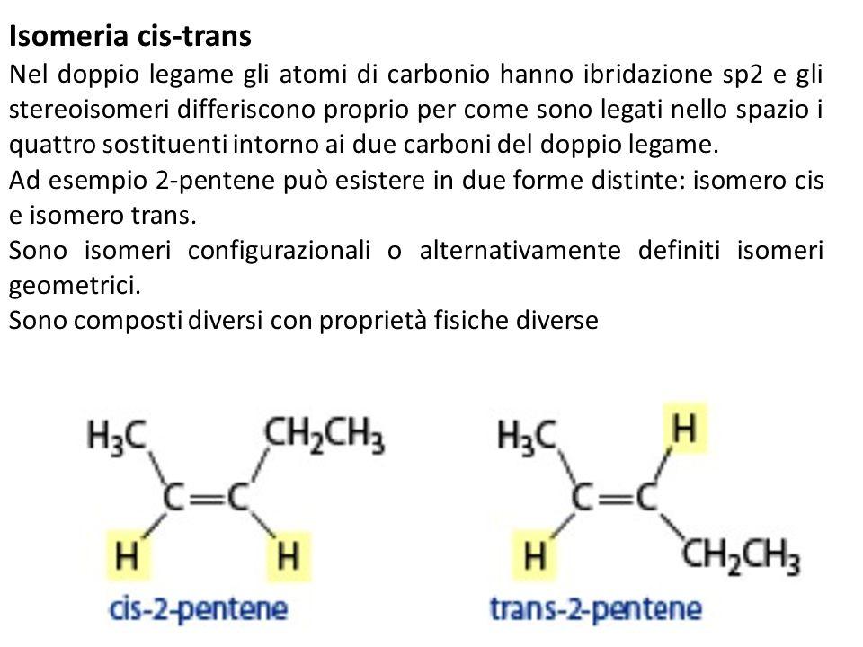 Isomeria cis-trans Nel doppio legame gli atomi di carbonio hanno ibridazione sp2 e gli stereoisomeri differiscono proprio per come sono legati nello s