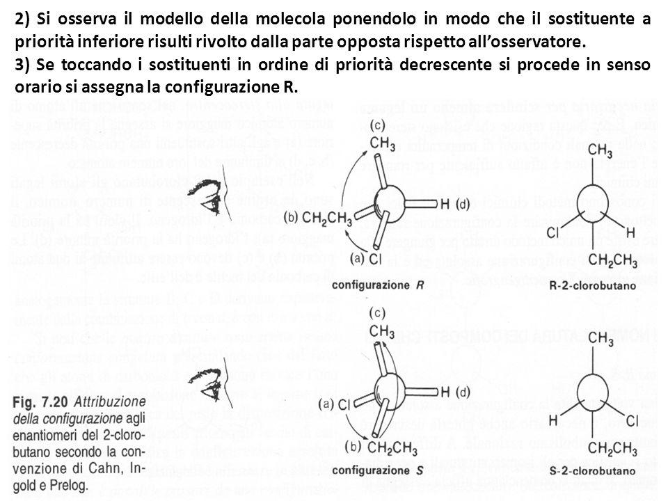 2) Si osserva il modello della molecola ponendolo in modo che il sostituente a priorità inferiore risulti rivolto dalla parte opposta rispetto allosse