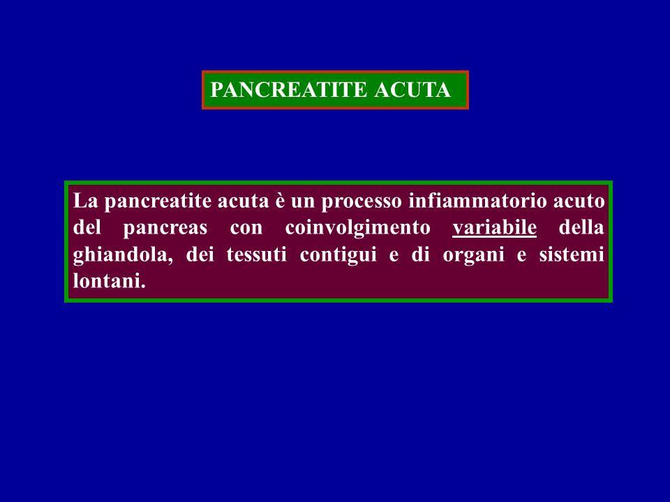 PANCREATITE ACUTA La pancreatite acuta è un processo infiammatorio acuto del pancreas con coinvolgimento variabile della ghiandola, dei tessuti contig