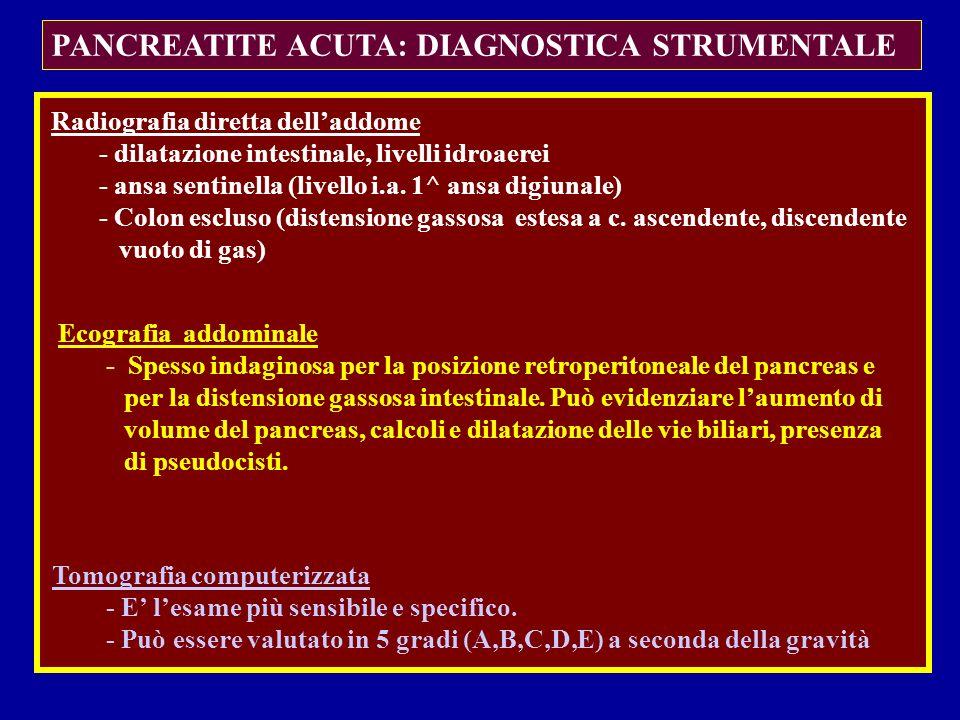 PANCREATITE ACUTA: DIAGNOSTICA STRUMENTALE Radiografia diretta delladdome - dilatazione intestinale, livelli idroaerei - ansa sentinella (livello i.a.