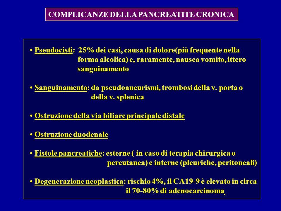 COMPLICANZE DELLA PANCREATITE CRONICA Pseudocisti: 25% dei casi, causa di dolore(più frequente nella forma alcolica) e, raramente, nausea vomito, itte