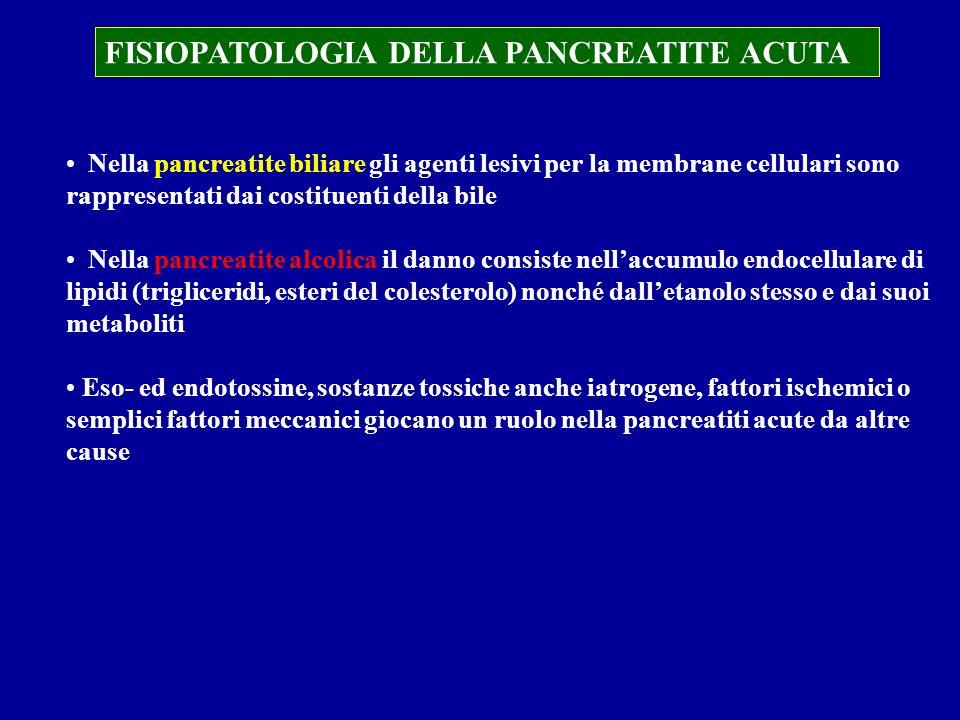 FISIOPATOLOGIA DELLA PANCREATITE ACUTA Nella pancreatite biliare gli agenti lesivi per la membrane cellulari sono rappresentati dai costituenti della