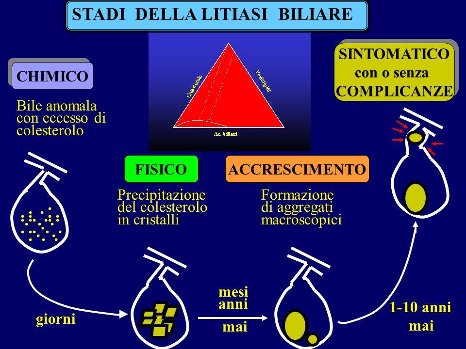 STADI DELLA LITIASI BILIARE CHIMICO Bile anomala con eccesso di colesterolo FISICO Precipitazione del colesterolo in cristalli ACCRESCIMENTO Formazione di aggregati macroscopici SINTOMATICO con o senza COMPLICANZE SINTOMATICO con o senza COMPLICANZE giorni mesi anni mai 1-10 anni mai.....................