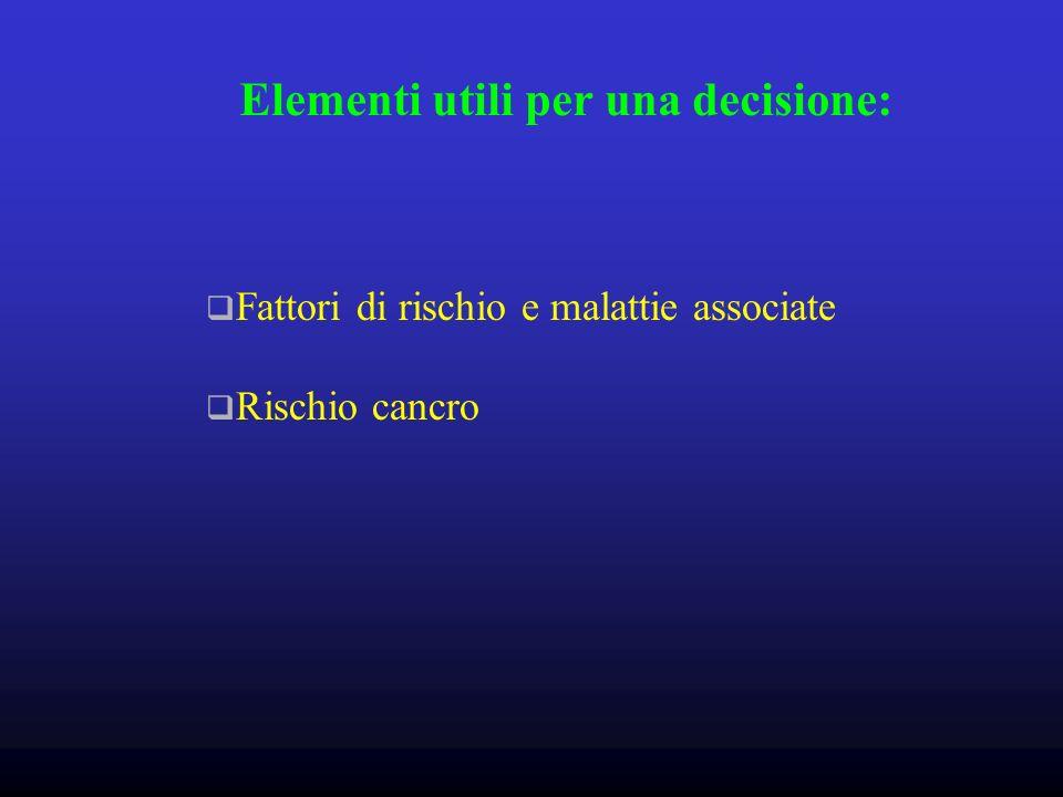 Elementi utili per una decisione: Fattori di rischio e malattie associate Rischio cancro