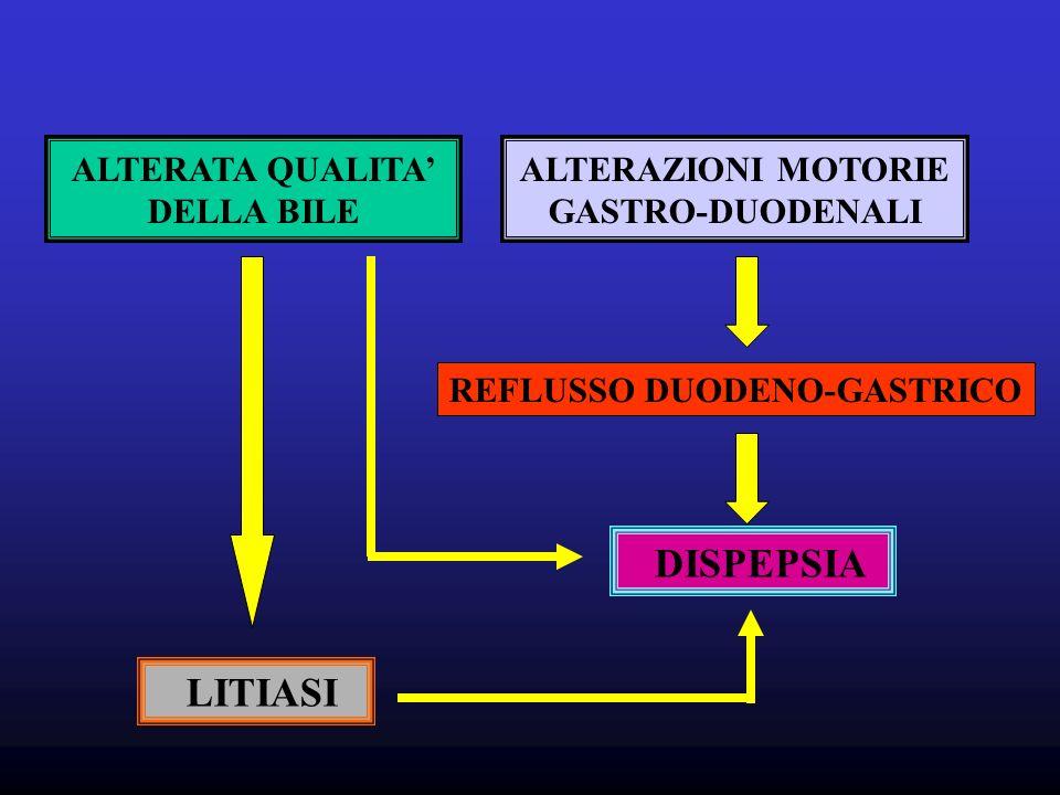 ALTERATA QUALITA DELLA BILE LITIASI ALTERAZIONI MOTORIE GASTRO-DUODENALI REFLUSSO DUODENO-GASTRICO DISPEPSIA