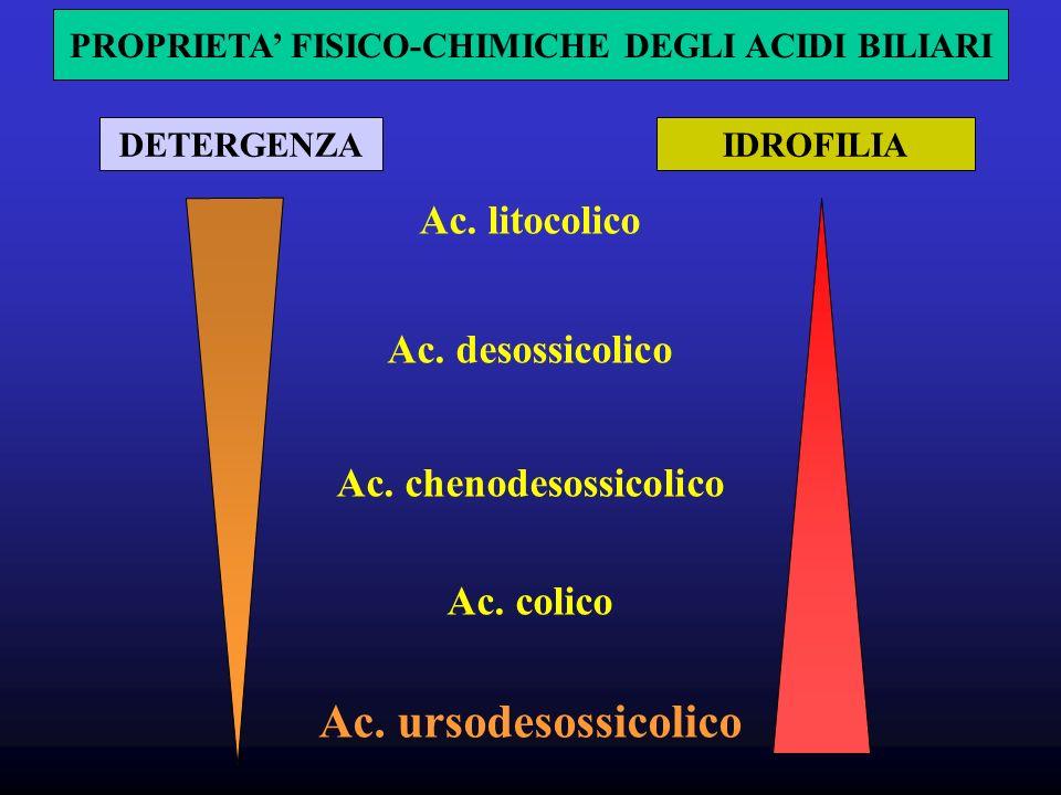 DETERGENZAIDROFILIA Ac.litocolico Ac. desossicolico Ac.