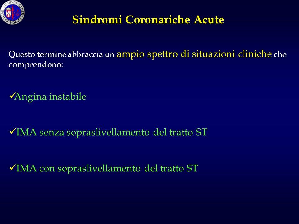 Questo termine abbraccia un ampio spettro di situazioni cliniche che comprendono: Angina instabile IMA senza sopraslivellamento del tratto ST IMA con sopraslivellamento del tratto ST Sindromi Coronariche Acute