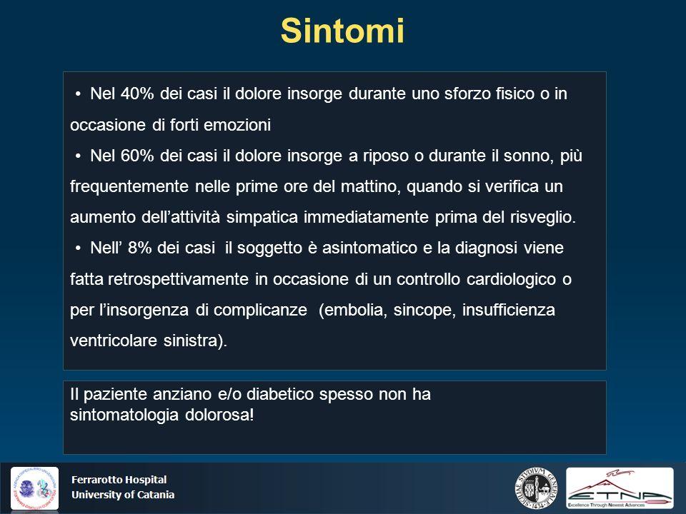 Ospedale Ferrarotto Università di Catania Sintomi Nel 40% dei casi il dolore insorge durante uno sforzo fisico o in occasione di forti emozioni Nel 60