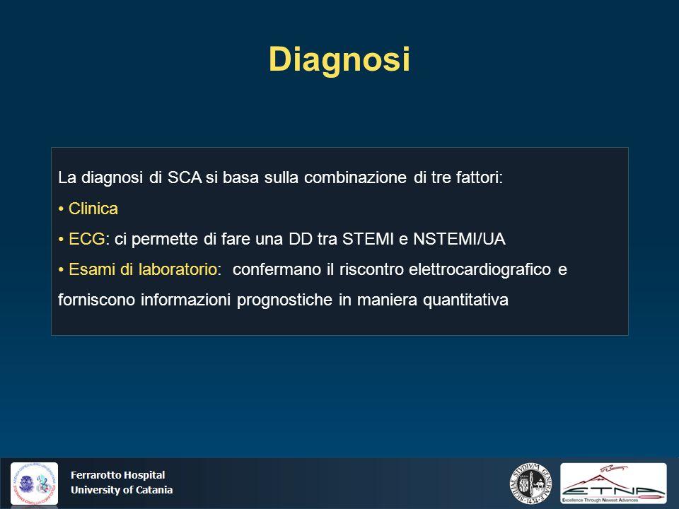 Ospedale Ferrarotto Università di Catania Diagnosi La diagnosi di SCA si basa sulla combinazione di tre fattori: Clinica ECG: ci permette di fare una DD tra STEMI e NSTEMI/UA Esami di laboratorio: confermano il riscontro elettrocardiografico e forniscono informazioni prognostiche in maniera quantitativa
