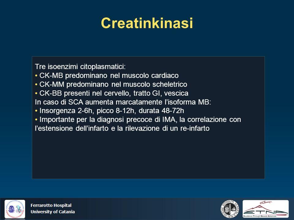 Ospedale Ferrarotto Università di Catania Creatinkinasi Tre isoenzimi citoplasmatici: CK-MB predominano nel muscolo cardiaco CK-MM predominano nel muscolo scheletrico CK-BB presenti nel cervello, tratto GI, vescica In caso di SCA aumenta marcatamente lisoforma MB: Insorgenza 2-6h, picco 8-12h, durata 48-72h Importante per la diagnosi precoce di IMA, la correlazione con lestensione dellinfarto e la rilevazione di un re-infarto