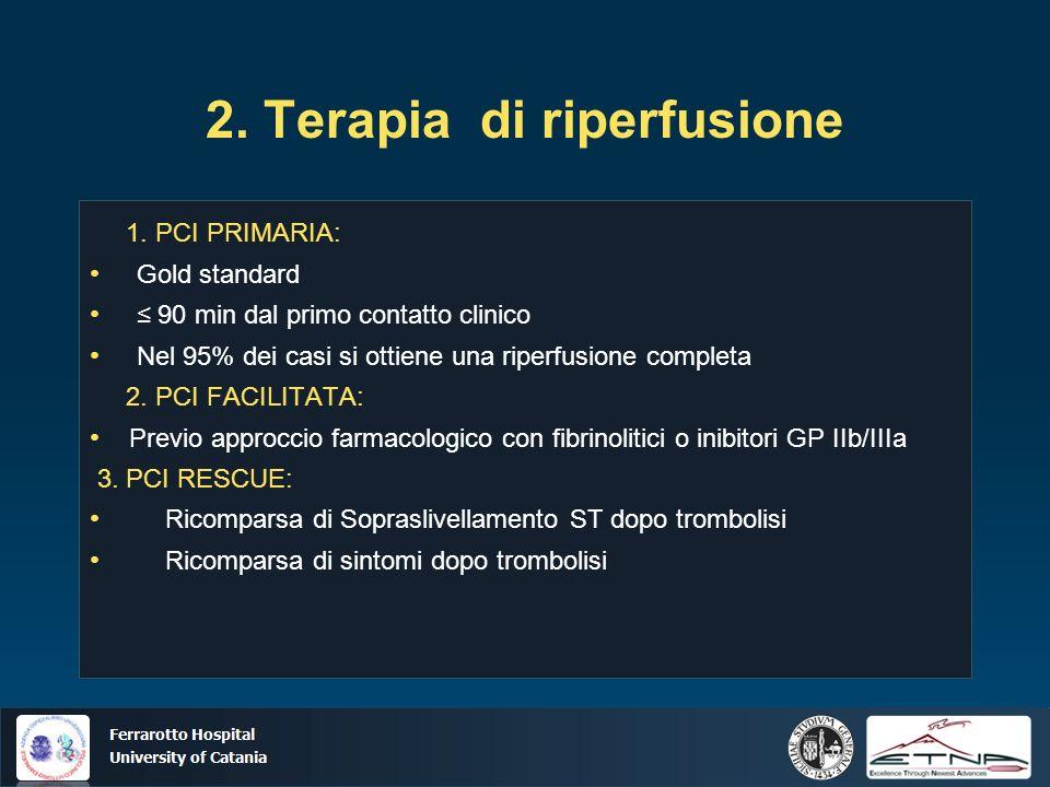 Ospedale Ferrarotto Università di Catania 2. Terapia di riperfusione 1. PCI PRIMARIA: Gold standard 90 min dal primo contatto clinico Nel 95% dei casi