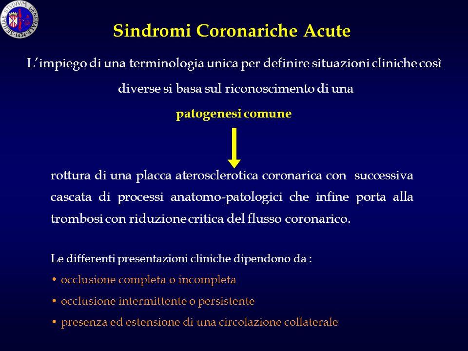 rottura di una placca aterosclerotica coronarica con successiva cascata di processi anatomo-patologici che infine porta alla trombosi con riduzione critica del flusso coronarico.