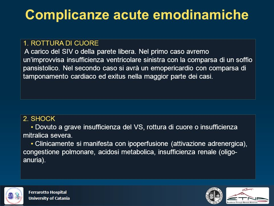 Ospedale Ferrarotto Università di Catania Complicanze acute emodinamiche 2. SHOCK Dovuto a grave insufficienza del VS, rottura di cuore o insufficienz