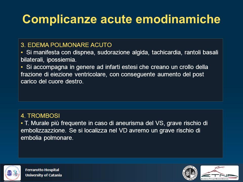 Ospedale Ferrarotto Università di Catania Complicanze acute emodinamiche 3. EDEMA POLMONARE ACUTO Si manifesta con dispnea, sudorazione algida, tachic