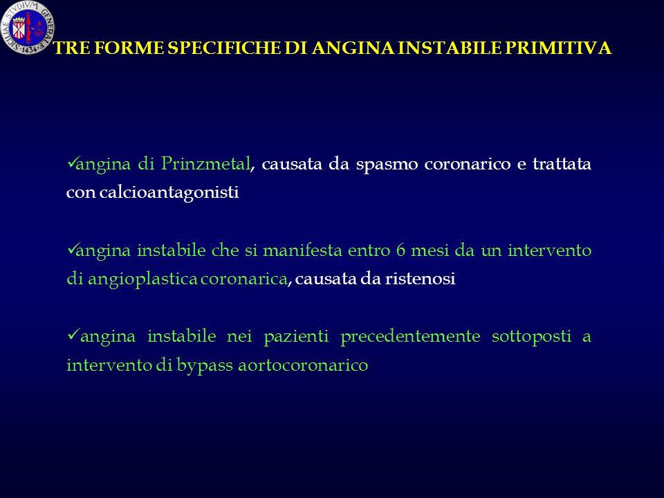 TRE FORME SPECIFICHE DI ANGINA INSTABILE PRIMITIVA angina di Prinzmetal, causata da spasmo coronarico e trattata con calcioantagonisti angina instabil