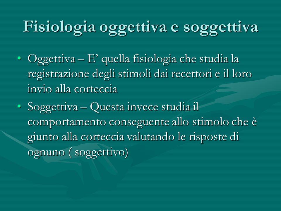 Fisiologia oggettiva e soggettiva Oggettiva – E quella fisiologia che studia la registrazione degli stimoli dai recettori e il loro invio alla cortecc