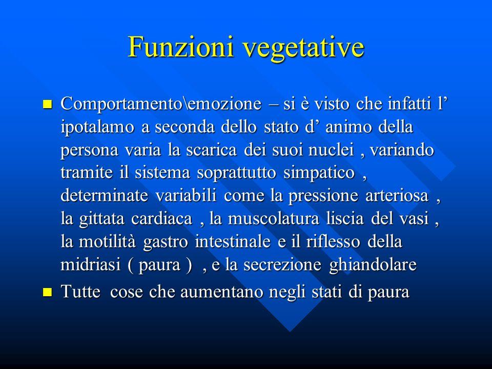 Funzioni vegetative Comportamento\emozione – si è visto che infatti l ipotalamo a seconda dello stato d animo della persona varia la scarica dei suoi