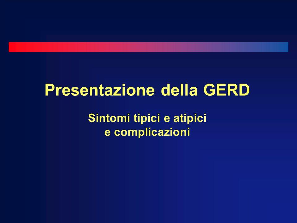 Presentazione della GERD Sintomi tipici e atipici e complicazioni