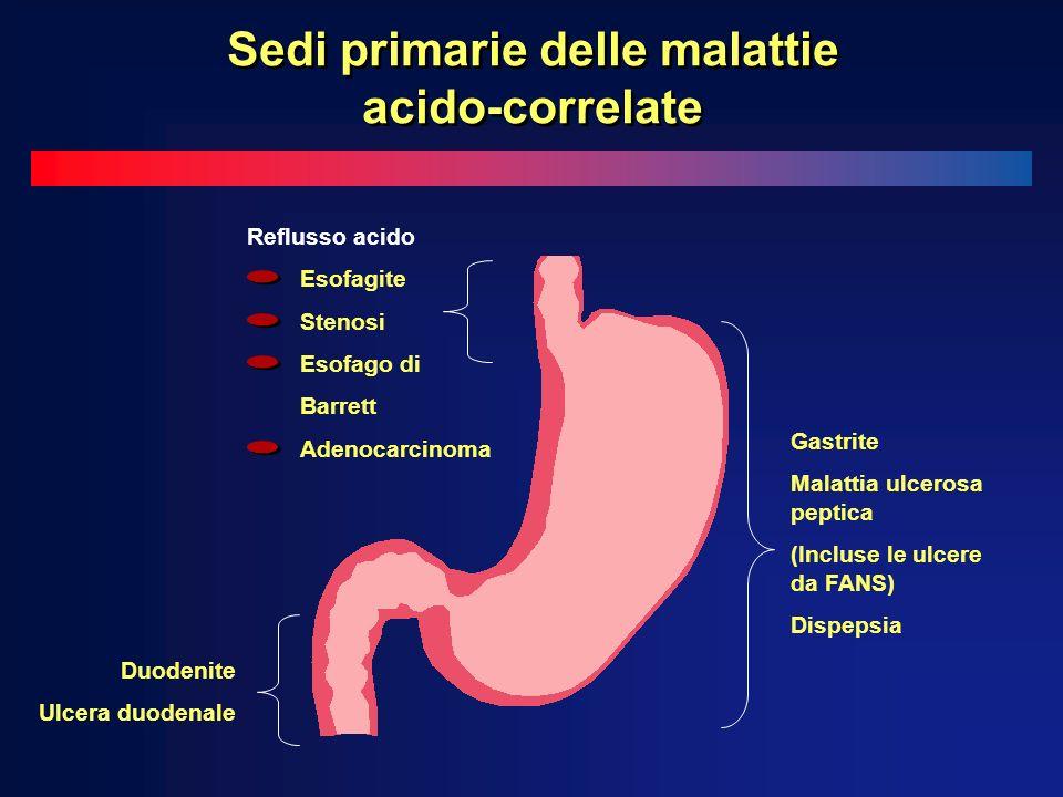 Gastrite Malattia ulcerosa peptica (Incluse le ulcere da FANS) Dispepsia Duodenite Ulcera duodenale Reflusso acido Esofagite Stenosi Esofago di Barrett Adenocarcinoma Sedi primarie delle malattie acido-correlate
