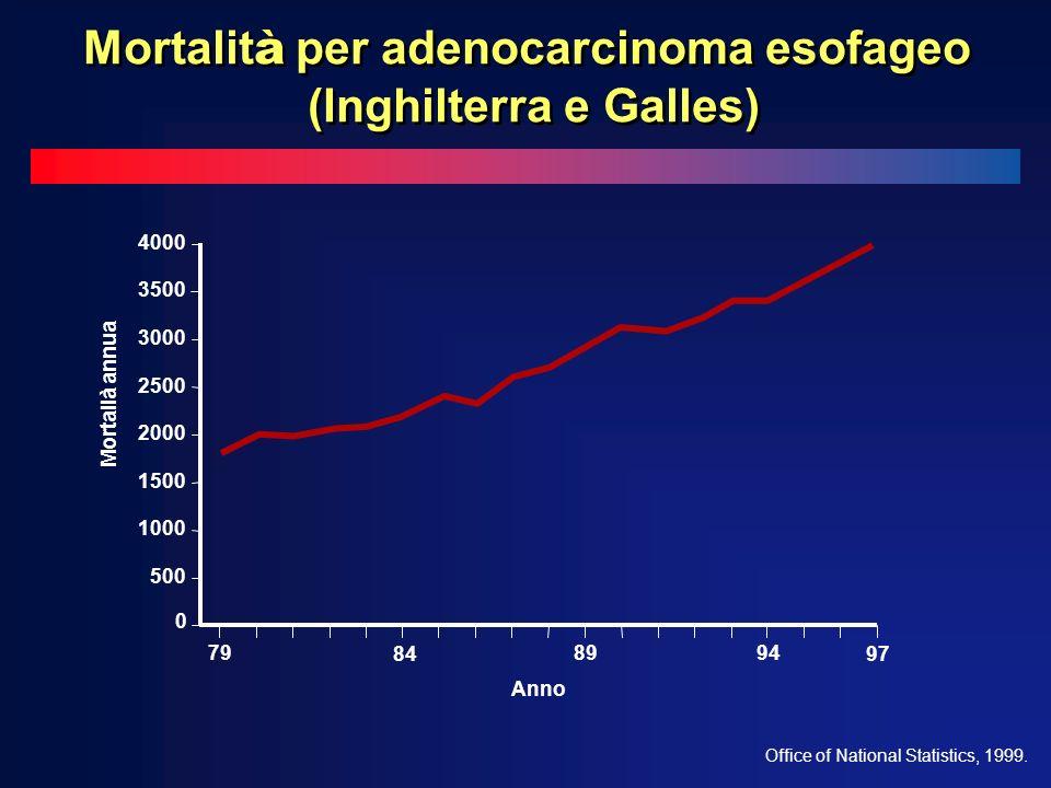 0 500 1000 1500 2000 2500 3000 3500 4000 79 84 8994 97 Mortalià annua Anno Office of National Statistics, 1999.
