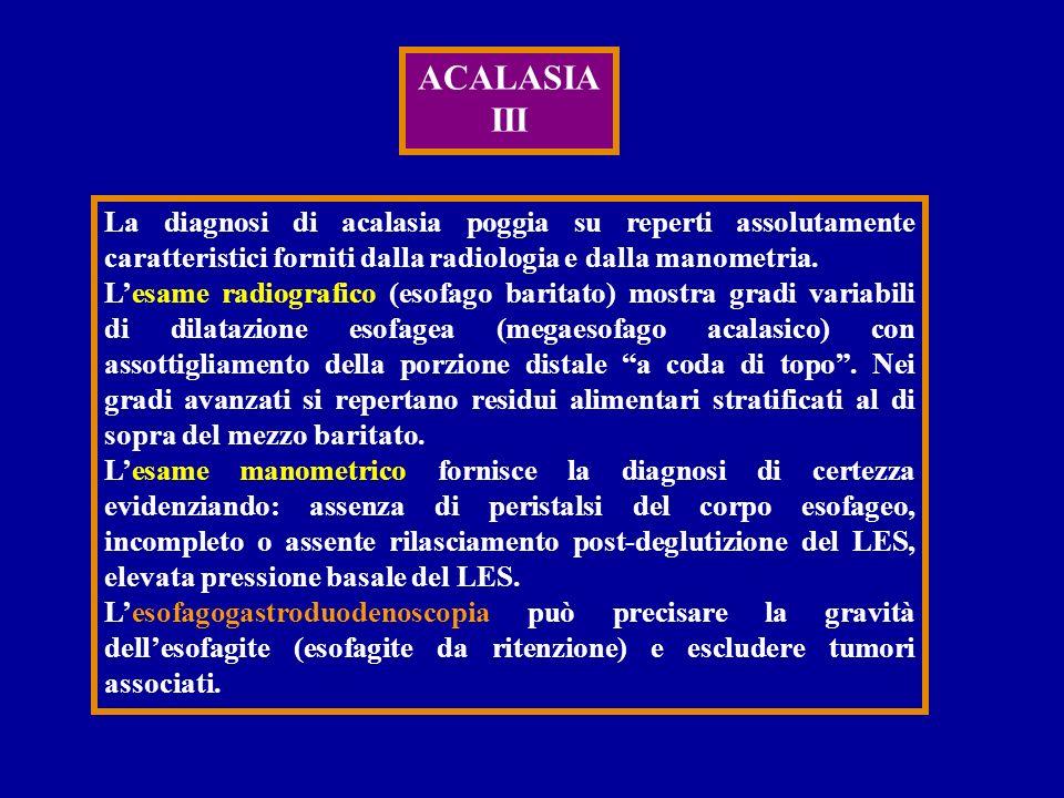 ACALASIA III La diagnosi di acalasia poggia su reperti assolutamente caratteristici forniti dalla radiologia e dalla manometria. Lesame radiografico (