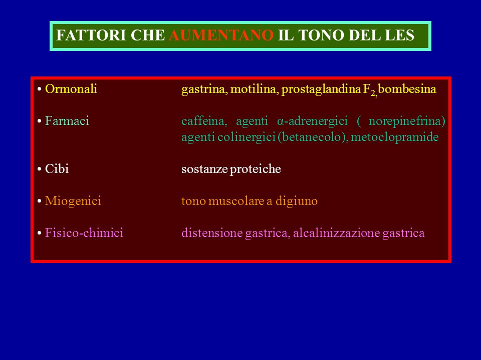 FATTORI CHE AUMENTANO IL TONO DEL LES Ormonaligastrina, motilina, prostaglandina F 2, bombesina Farmacicaffeina, agenti α-adrenergici ( norepinefrina)