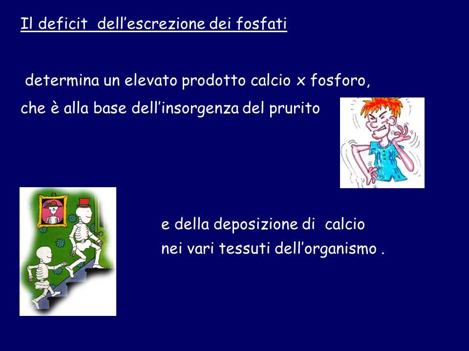 Il deficit dellescrezione dei fosfati determina un elevato prodotto calcio x fosforo, che è alla base dellinsorgenza del prurito e della deposizione di calcio nei vari tessuti dellorganismo.
