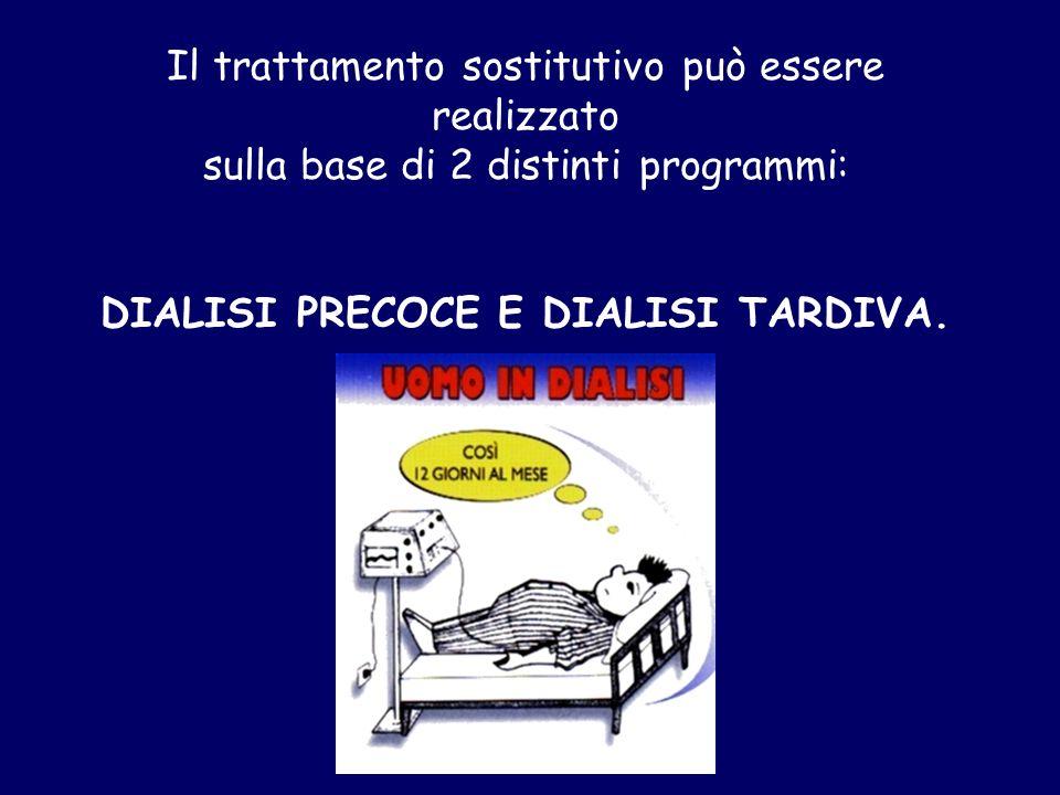 Il trattamento sostitutivo può essere realizzato sulla base di 2 distinti programmi: DIALISI PRECOCE E DIALISI TARDIVA.