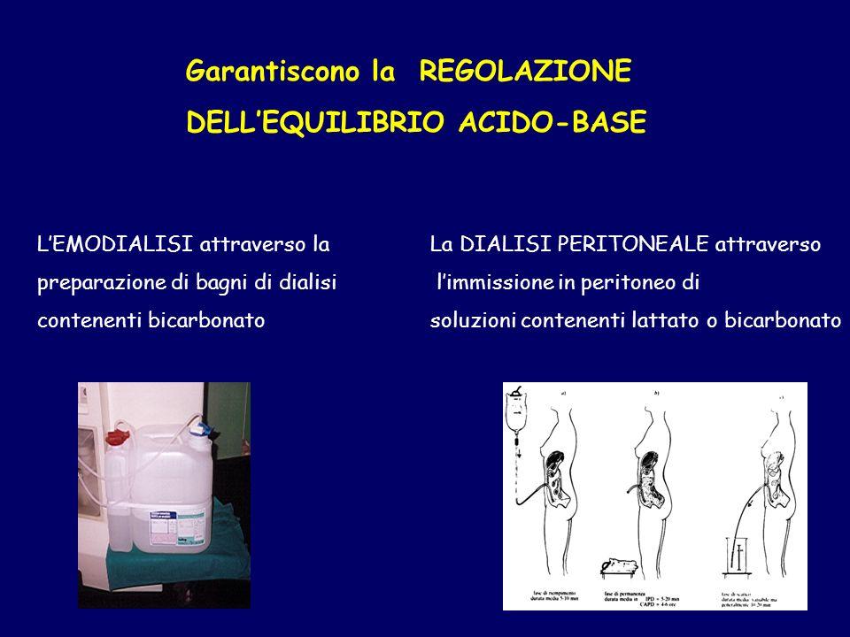 Garantiscono la REGOLAZIONE DELLEQUILIBRIO ACIDO-BASE LEMODIALISI attraverso la preparazione di bagni di dialisi contenenti bicarbonato La DIALISI PERITONEALE attraverso limmissione in peritoneo di soluzioni contenenti lattato o bicarbonato