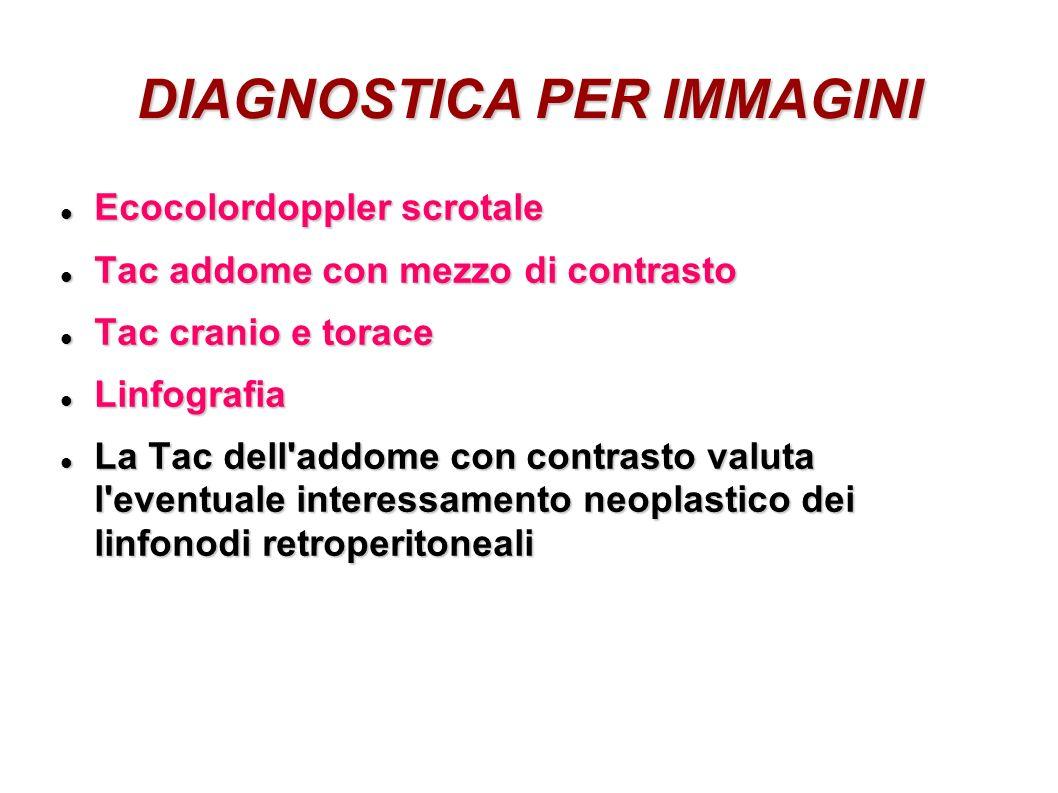 DIAGNOSTICA PER IMMAGINI Ecocolordoppler scrotale Ecocolordoppler scrotale Tac addome con mezzo di contrasto Tac addome con mezzo di contrasto Tac cra