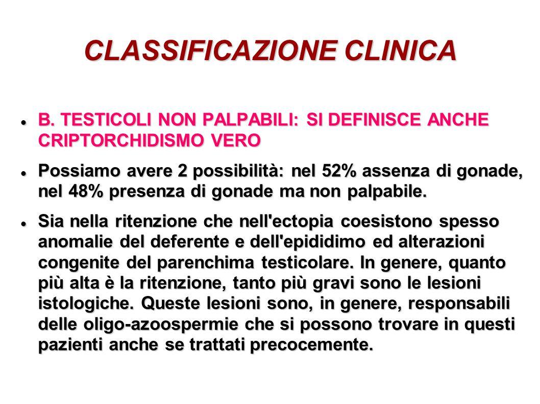 CLASSIFICAZIONE CLINICA B. TESTICOLI NON PALPABILI: SI DEFINISCE ANCHE CRIPTORCHIDISMO VERO B. TESTICOLI NON PALPABILI: SI DEFINISCE ANCHE CRIPTORCHID