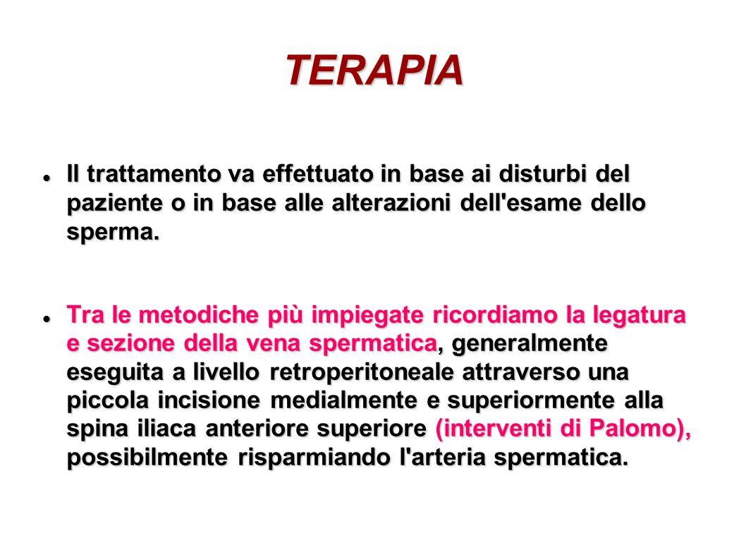 TERAPIA Il trattamento va effettuato in base ai disturbi del paziente o in base alle alterazioni dell'esame dello sperma. Il trattamento va effettuato