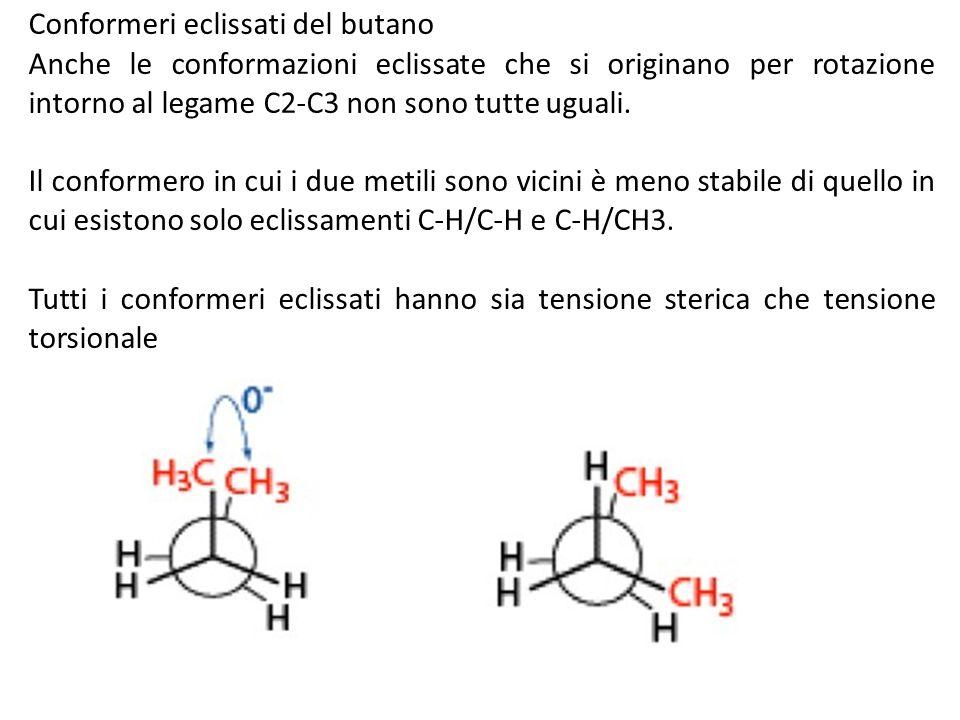 Conformeri eclissati del butano Anche le conformazioni eclissate che si originano per rotazione intorno al legame C2-C3 non sono tutte uguali. Il conf