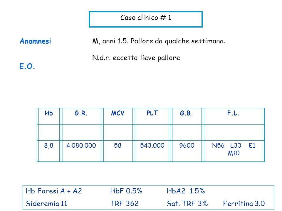 Caso clinico # 1 M, anni 1.5. Pallore da qualche settimana. N.d.r. eccetto lieve palloreAnamnesiE.O. HbG.R.MCVPLTG.B.F.L. 8,84.080.00058543.0009600N56