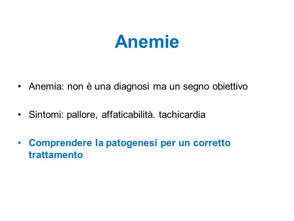 Anemie Anemia: non è una diagnosi ma un segno obiettivo Sintomi: pallore, affaticabilità. tachicardia Comprendere la patogenesi per un corretto tratta