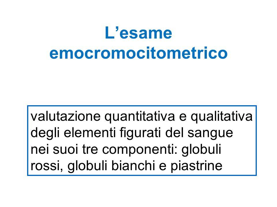valutazione quantitativa e qualitativa degli elementi figurati del sangue nei suoi tre componenti: globuli rossi, globuli bianchi e piastrine Lesame emocromocitometrico