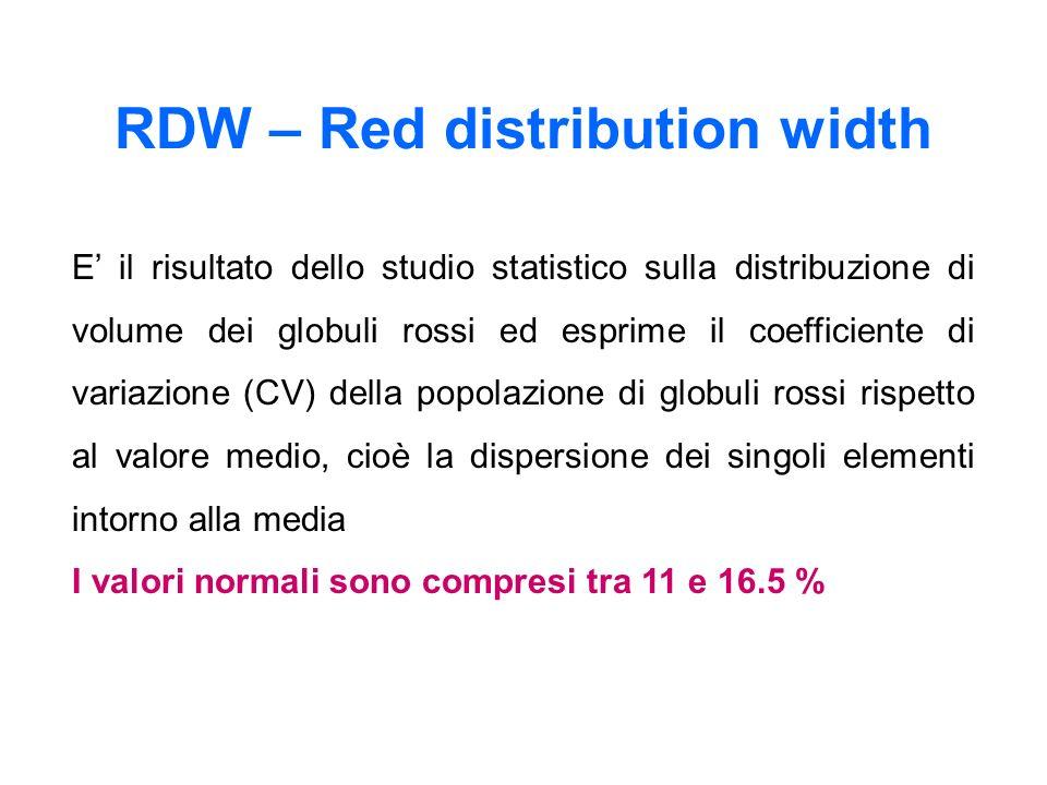 E il risultato dello studio statistico sulla distribuzione di volume dei globuli rossi ed esprime il coefficiente di variazione (CV) della popolazione di globuli rossi rispetto al valore medio, cioè la dispersione dei singoli elementi intorno alla media I valori normali sono compresi tra 11 e 16.5 % RDW – Red distribution width