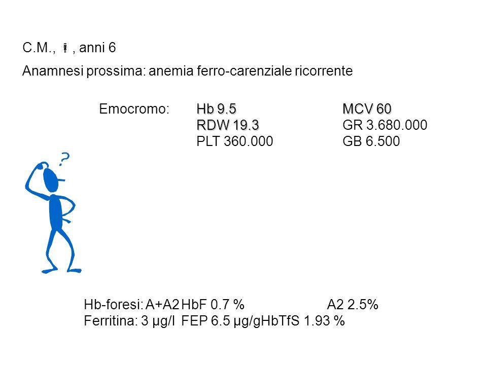 C.M.,, anni 6 Anamnesi prossima: anemia ferro-carenziale ricorrente Hb 9.5MCV 60 Emocromo: Hb 9.5MCV 60 RDW 19.3 RDW 19.3GR 3.680.000 PLT 360.000GB 6.500 Hb-foresi: A+A2HbF 0.7 %A2 2.5% Ferritina: 3 µg/lFEP 6.5 µg/gHbTfS 1.93 %