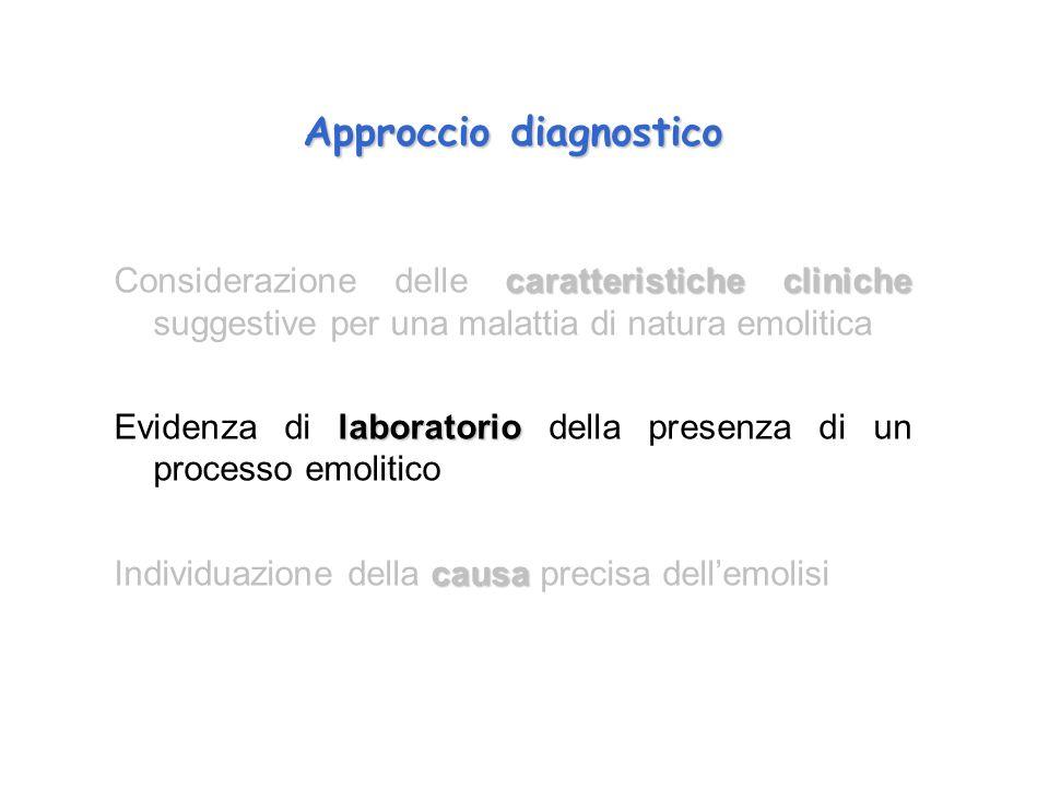 Approccio diagnostico caratteristiche cliniche Considerazione delle caratteristiche cliniche suggestive per una malattia di natura emolitica laborator