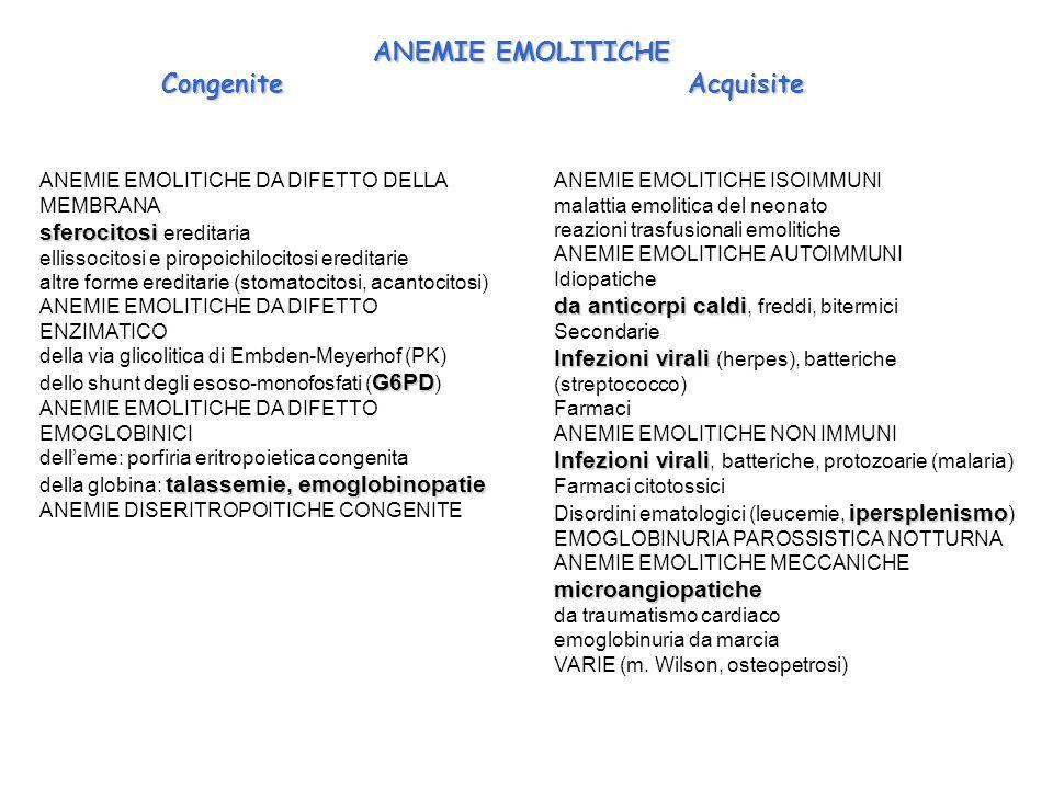 ANEMIE EMOLITICHE DA DIFETTO DELLA MEMBRANA sferocitosi sferocitosi ereditaria ellissocitosi e piropoichilocitosi ereditarie altre forme ereditarie (stomatocitosi, acantocitosi) ANEMIE EMOLITICHE DA DIFETTO ENZIMATICO della via glicolitica di Embden-Meyerhof (PK) G6PD dello shunt degli esoso-monofosfati ( G6PD ) ANEMIE EMOLITICHE DA DIFETTO EMOGLOBINICI delleme: porfiria eritropoietica congenita talassemie, emoglobinopatie della globina: talassemie, emoglobinopatie ANEMIE DISERITROPOITICHE CONGENITE ANEMIE EMOLITICHE ISOIMMUNI malattia emolitica del neonato reazioni trasfusionali emolitiche ANEMIE EMOLITICHE AUTOIMMUNI Idiopatiche da anticorpi caldi da anticorpi caldi, freddi, bitermici Secondarie Infezioni virali Infezioni virali (herpes), batteriche (streptococco) Farmaci ANEMIE EMOLITICHE NON IMMUNI Infezioni virali Infezioni virali, batteriche, protozoarie (malaria) Farmaci citotossici ipersplenismo Disordini ematologici (leucemie, ipersplenismo ) EMOGLOBINURIA PAROSSISTICA NOTTURNA ANEMIE EMOLITICHE MECCANICHEmicroangiopatiche da traumatismo cardiaco emoglobinuria da marcia VARIE (m.