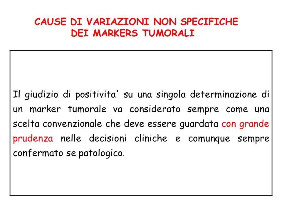 CAUSE DI VARIAZIONI NON SPECIFICHE DEI MARKERS TUMORALI Il giudizio di positivita' su una singola determinazione di un marker tumorale va considerato